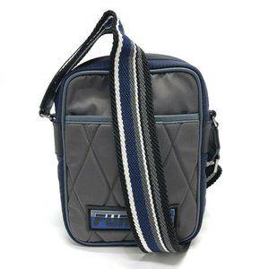 FURLA Quilted Pochette Shoulder Bag Nylon Gray